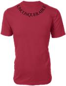 "Men's ""UNCONQUERABLE"" Red T-Shirt Black Neck Logo"