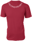 "Men's ""UNCONQUERABLE"" Red T-Shirt White Neck Logo"