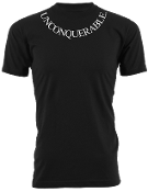 "Men's ""UNCONQUERABLE"" Black T-Shirt White Neck Logo"