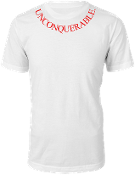 "Men's ""UNCONQUERABLE"" White T-Shirt Red Neck Logo"