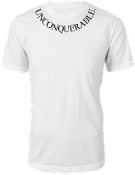 "Men's ""UNCONQUERABLE"" White T-Shirt Black Neck Logo"