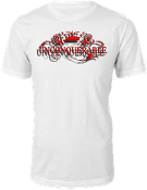 "Men's ""UNCONQUERABLE"" White T-Shirt Red Logo w/ Shadow"