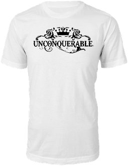 "Men's ""UNCONQUERABLE"" White T-Shirt Black Logo"