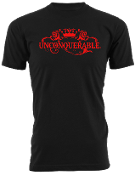 "Men's ""UNCONQUERABLE"" Black T-Shirt Red Logo"