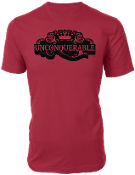 "Men's ""UNCONQUERABLE"" Red T-Shirt Black Logo"