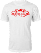 "Men's ""UNCONQUERABLE"" White T-Shirt Red Logo"