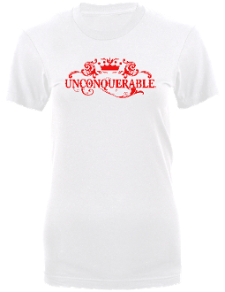 "Women's ""UNCONQUERABLE"" White T-Shirt Red Logo"