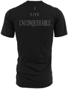 "Men's ""I LIVE UNCONQUERABLE"" Black T-Shirt Gray Logo On Back"