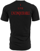 "Men's ""I LIVE UNCONQUERABLE"" Black T-Shirt Red Logo On Back"