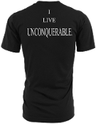 "Men's ""I LIVE UNCONQUERABLE"" Black T-Shirt White Logo On Back"
