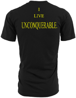 "Men's ""I LIVE UNCONQUERABLE"" Black T-Shirt Yellow Logo On Back"