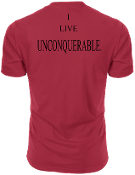"Men's ""I LIVE UNCONQUERABLE"" Red T-Shirt Black Logo On Back"