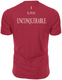 "Men's ""I LIVE UNCONQUERABLE"" Red T-Shirt White Logo"