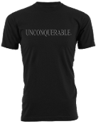 "Men's ""UNCONQUERABLE"" Black T-Shirt Gray Logo"