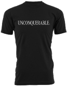 "Men's ""UNCONQUERABLE"" Black T-Shirt White Logo"