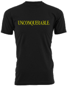 "Men's ""UNCONQUERABLE"" Black T-Shirt Yellow Logo"