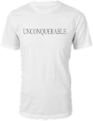 "Men's ""UNCONQUERABLE"" White T-Shirt Gray Logo"
