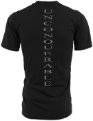 "Men's ""UNCONQUERABLE"" Black T-Shirt Vertical Gray Logo on Back"