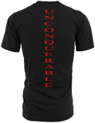 "Men's ""UNCONQUERABLE"" Black T-Shirt Vertical Red Logo on Back"