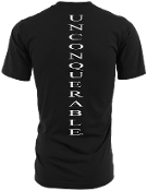 "Men's ""UNCONQUERABLE"" Black T-Shirt Vertical White Logo on Back"