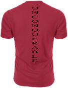 "Men's ""UNCONQUERABLE"" Red T-Shirt Vertical Black Logo On Back"
