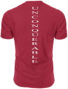 "Men's ""UNCONQUERABLE"" Red T-Shirt Vertical White Logo On Back"