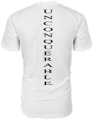 "Men's ""UNCONQUERABLE"" White T-Shirt Vertical Black Logo on Back"