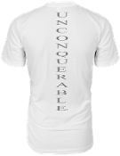 "Men's ""UNCONQUERABLE"" White T-Shirt Vertical Gray Logo on Back"