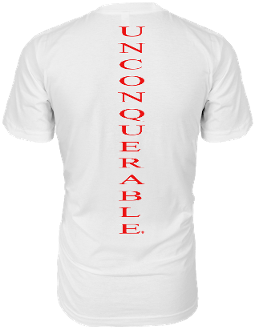 "Men's ""UNCONQUERABLE"" White T-Shirt Vertical Red Logo on Back"