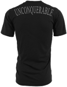 "Men's ""UNCONQUERABLE"" Black T-Shirt Gray Shoulder Logo on Back"