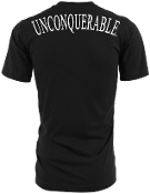 "Men's ""UNCONQUERABLE"" Black T-Shirt White Shoulder Logo on Back"