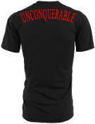 "Men's ""UNCONQUERABLE"" Black T-Shirt Red Shoulder Logo on Back"