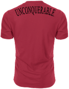 "Men's ""UNCONQUERABLE"" Red T-Shirt Black Shoulder Logo on Back"