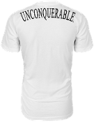 "Men's ""UNCONQUERABLE"" White T-Shirt Black Shoulder Logo on Back"