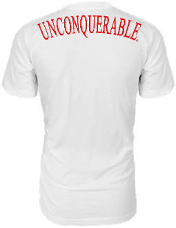 "Men's ""UNCONQUERABLE"" White T-Shirt Red Shoulder Logo on Back"